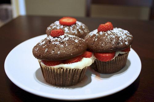 Cupcake, Strawberry, Chocolate