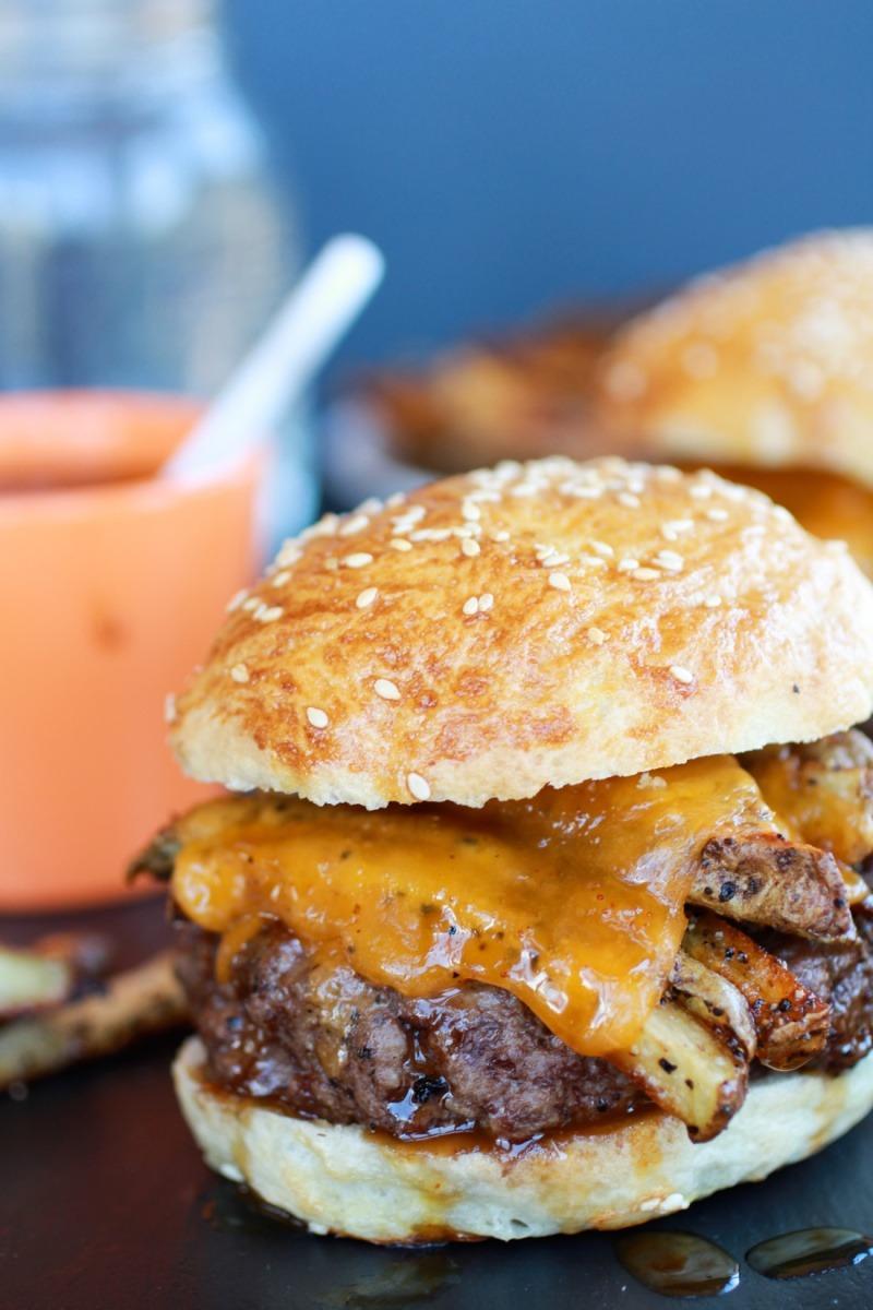 Cheesy French Fry Bourbon Burgers