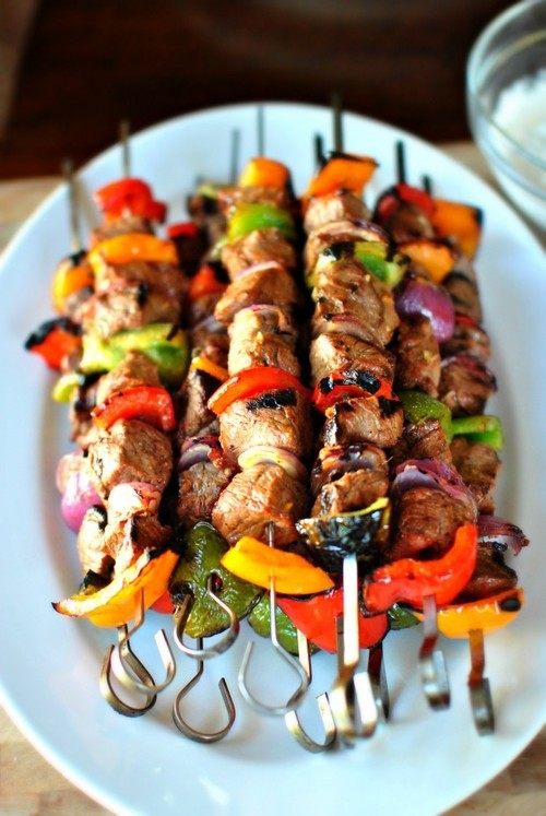 Grilled Marinated Steak Kebabs