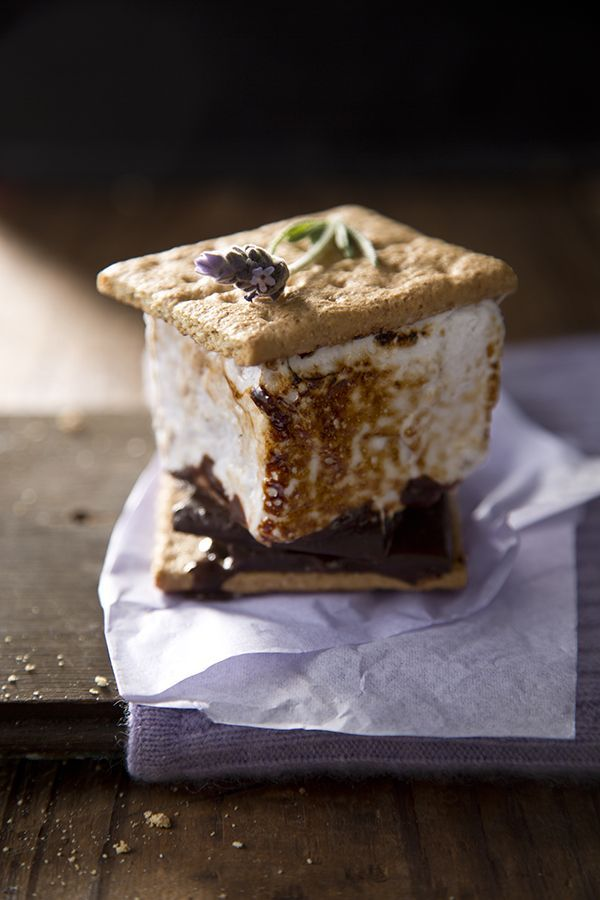 Dark chocolate s'mores w/Lavender marshmallows