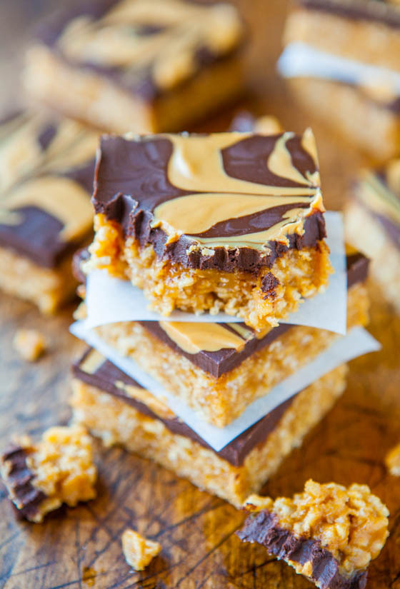 Recipe: Chewy Peanut Butter & Chocolate Cereal Bars
