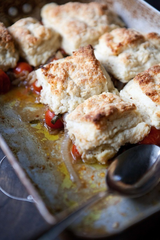 Cherry tomato cobbler with flaky goat cheese biscuits