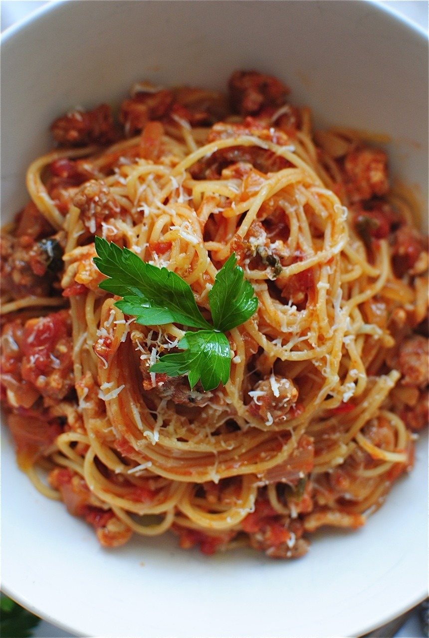 Recipe: Angel Hair With A Tomato Meat Sauce