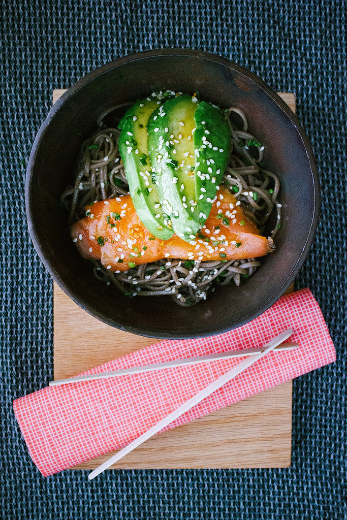 Soba Noodles with Smoked Salmon, Avocado and Mirin Dressing (by simpleprovisions)