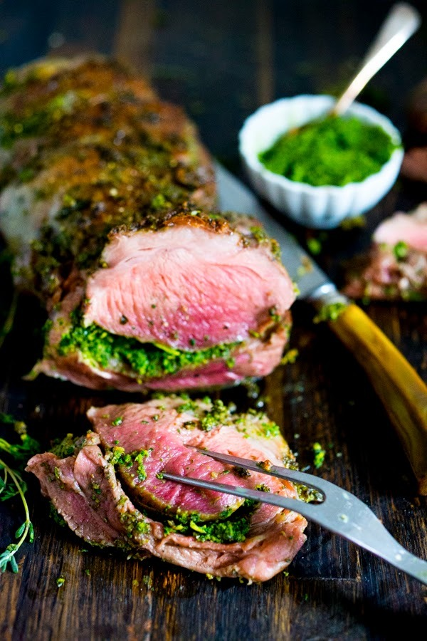 herb-crusted lamb with mint gremolata