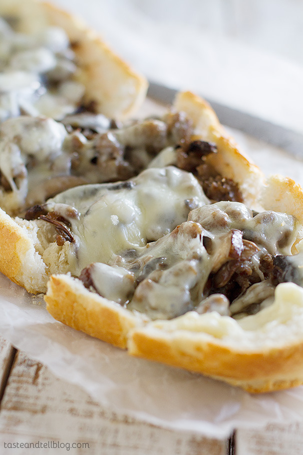 french bread pizza with sausage and mushrooms