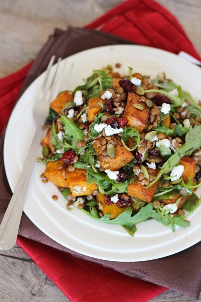 Spiced Squash, Lentil, & Goat Cheese Salad