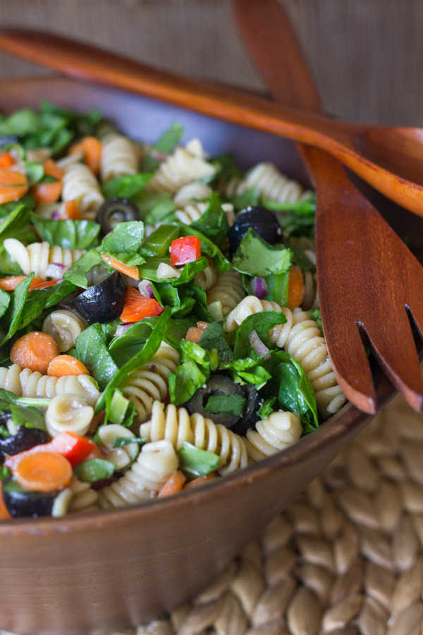 Spinach Pasta Salad With Balsamic Vinaigrette