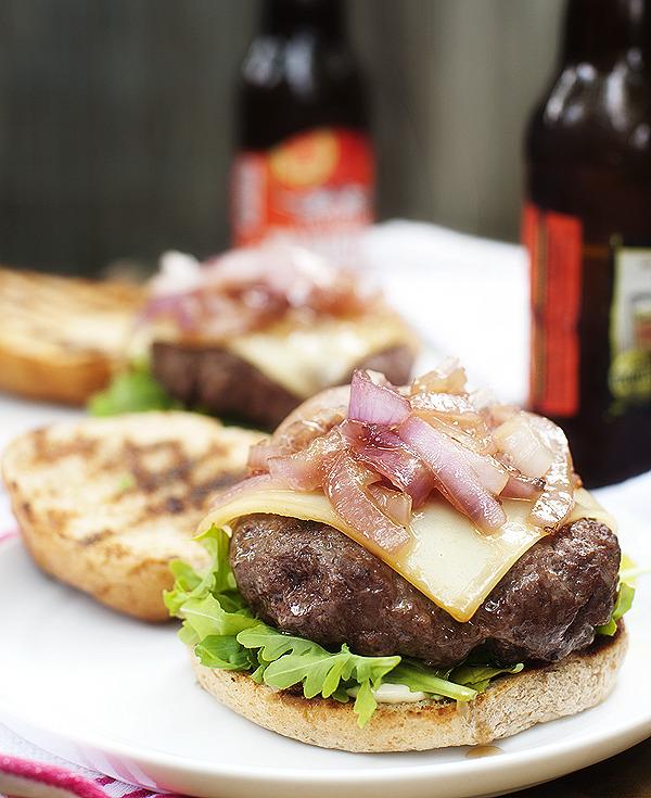 Onion, Gruyere and Arugula Burgers