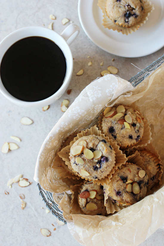 Blueberry Almond Whole Grain Muffins