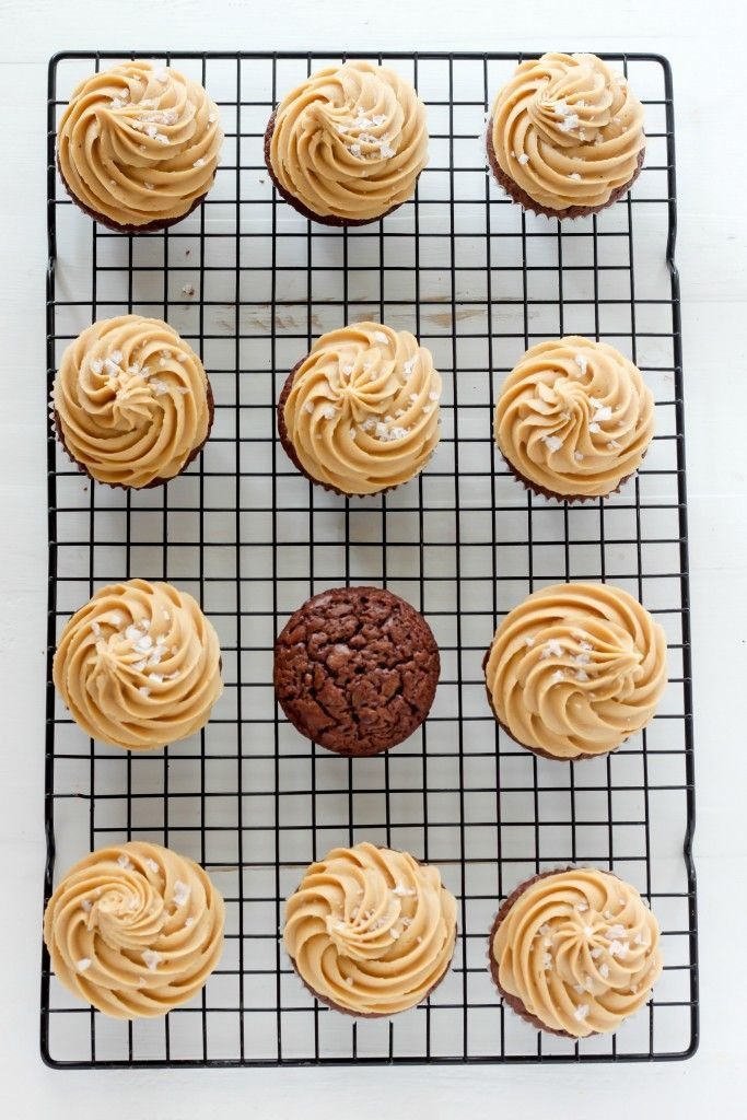 Dark Chocolate Brownie Cupcakes with Salted Caramel Frosting (via http
