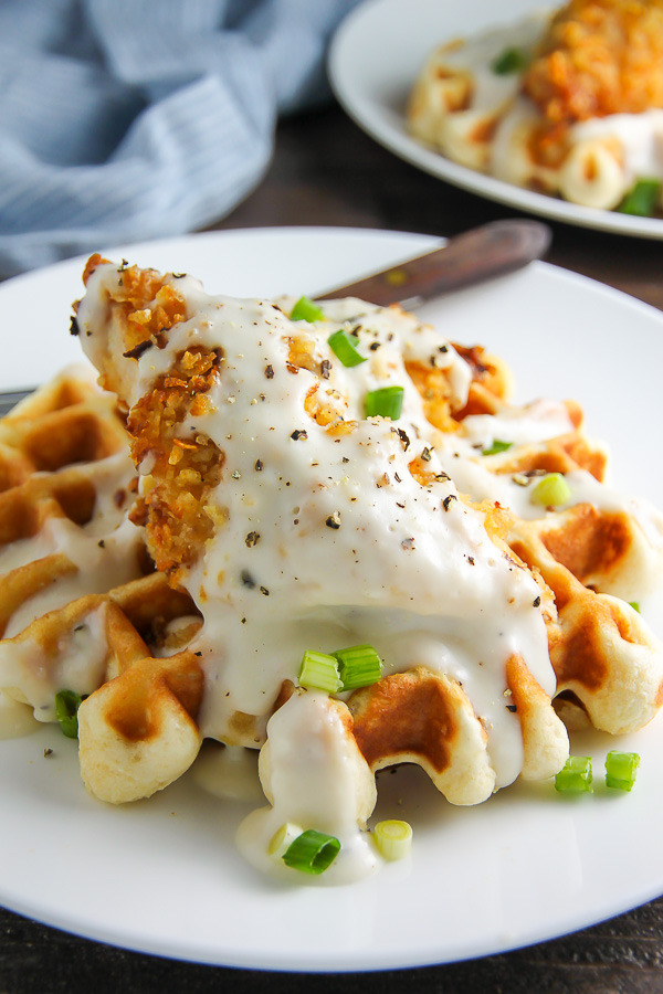 Oven-Fried Chicken with Waffles and White Gravy