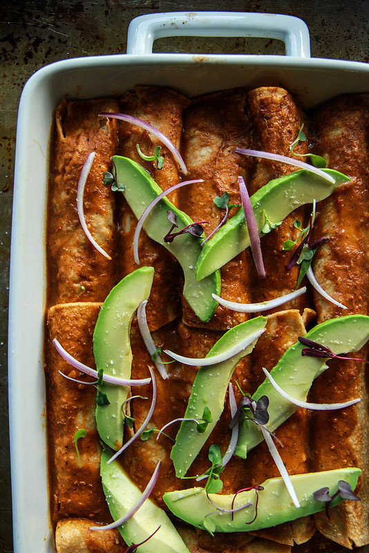 Spiced Pulled Pork and Almond Ricotta Enchiladas