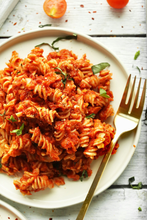 Spicy red pasta with lentils / RecipesourceClick here for more vegan food inspiration!
